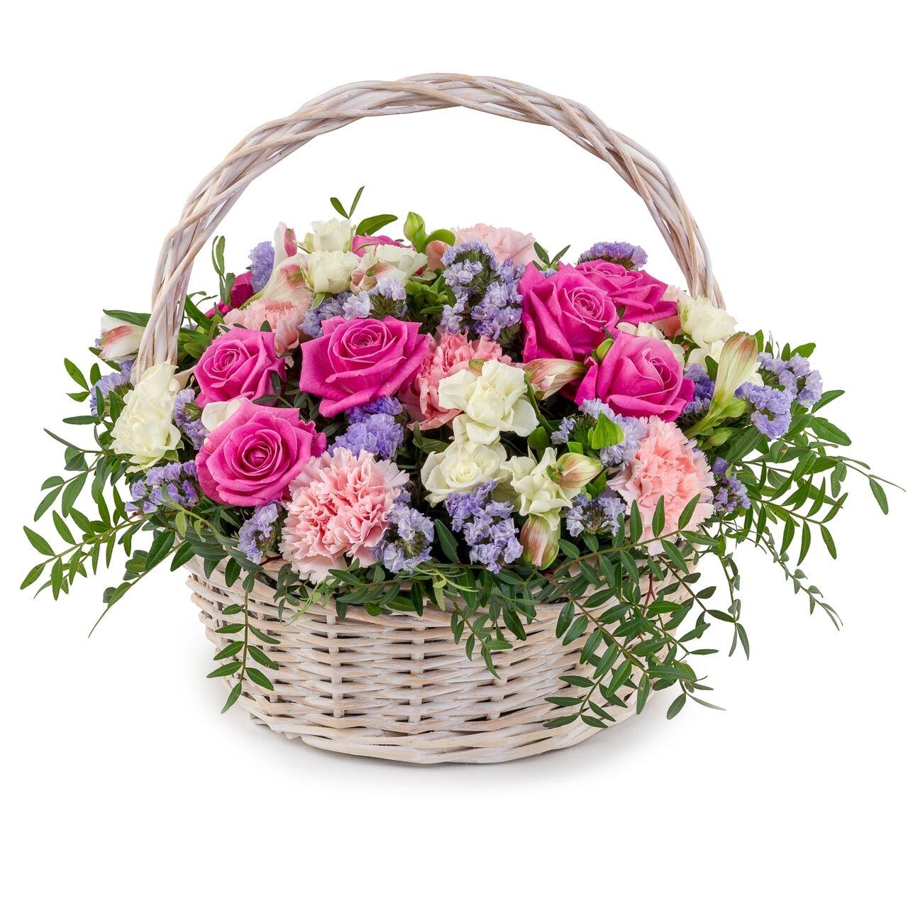 Открытка корзина с цветами на день рождения красивые, цветами